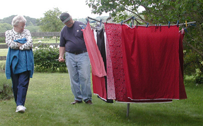 drying red fat quarters