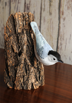 Nuthatch bird carving