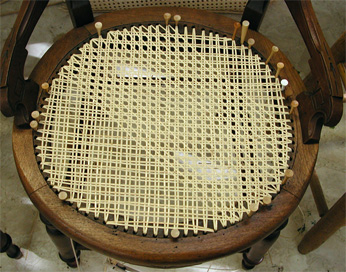 Hand Caning a Chair Seat